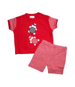 F.S. Baby -Piros színű, teknős mintával díszített póló-nyári sorttal
