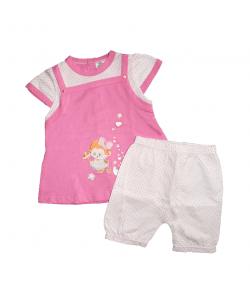 F.S. Baby -Rózsaszínű, kantáros fazonú kislányruha-rövid sorttal 80-as/12 hó