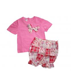 Boniface- Rózsaszín kislány felső -színes virágmintás batiszt anyagú sorttal