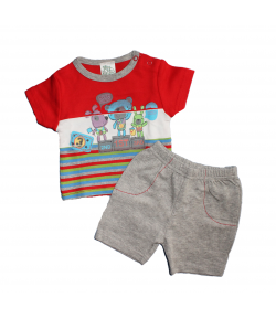 F.S. Baby- Nyári fiú kétrészes, piros, csíkozott póló-szürke sorttal