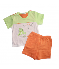 Bambibell- Világos zöld- nyers színű póló - narancs sorttal