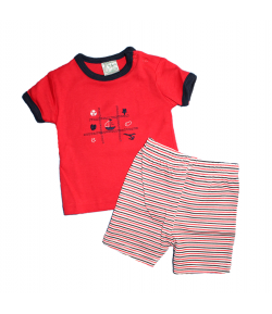 F.S Baby - Piros-kék paszpollal díszített póló-csíkos sorttal