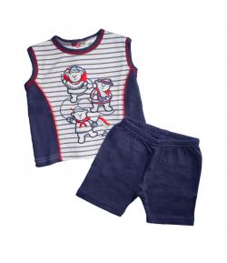 F.S Baby - Sötétkék -fehér csíkos trikó-egyszínű kék sorttal