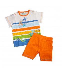 F.S. Baby- Vidám nyári színes csíkos póló- narancssárga sorttal 68-as