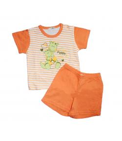 Bambibel- Narancs- fehér csíkos fiú nyári kétrészes