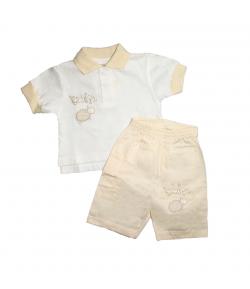 Trimex - Nyers színű póló krém gallérral krém színű rövidnadrággal 56 -os