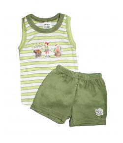 Scamp- Zöld csíkos, fiús nyári kétrészes