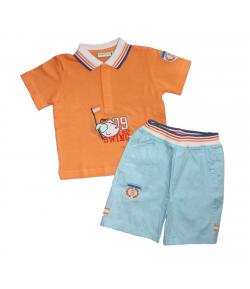Yatsi- Narancs színű galléros póló v. kék pamutvászon nadrággal 12 hó