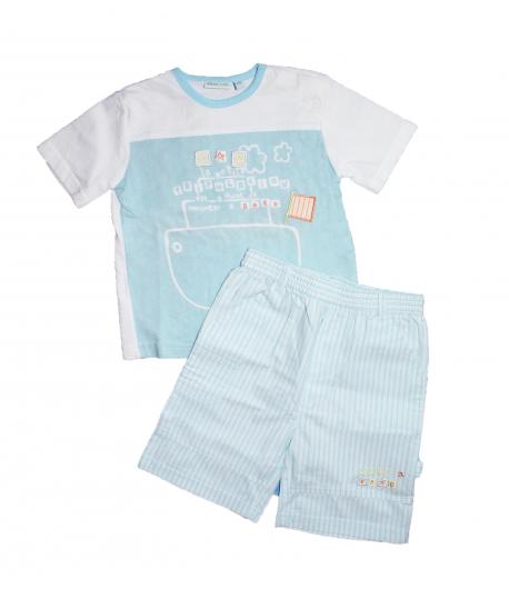 Yatsi- Fehér , világos kék színű póló -világos kék fehér csíkos nadrággal 24 hó