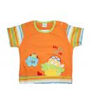 Baby rose- Narancs színű, színes mintával díszített póló 86-os