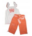 Lollipop- Fehér, vállon fodros tunika- 3/4-es narancs színű vászonnadrággal 104-es