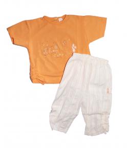TRIMEX- Narancs színű póló- csíkos nadrággal 86-os