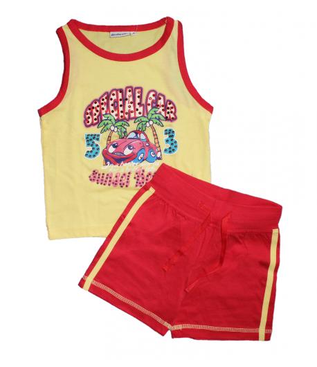 Dodipetto-Citrom sárga trikó piros szegővel díszített-piros sorttal 5 év