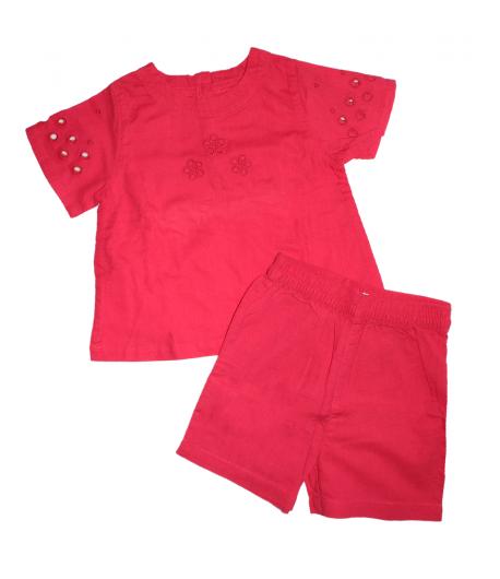 Dirkje- Piros színű, pamutvászon felső -piros sorttal 86-os