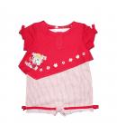 Yatsi- Egyrészes piros, csíkos kislány napozó 62-es