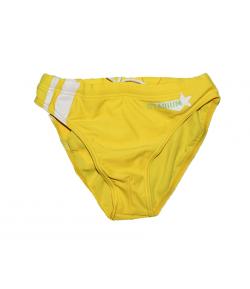 Mc baby- Sárga színű fehér díszítéssel, zöld felirattal -fiú úszónadrág