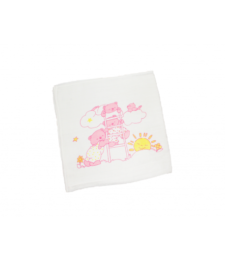 Nyomott mintás textil pelenka- Alvó maci (rózsaszín)
