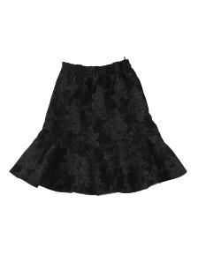 Tillisz Bt. - Fekete, anyagában hímzett és virágmintával nyomott kordbársony anyagú, alkalmi kislányszoknya 134-es