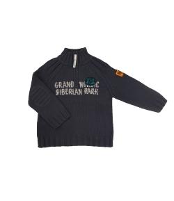 Boy Star- Raglán szabású, acél kék színű kötött pulóver 110-es