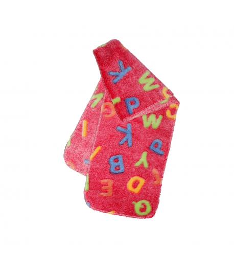 Ideaál Baby- Mályva színű, színes betűmintával díszített wellsoft nyaksál