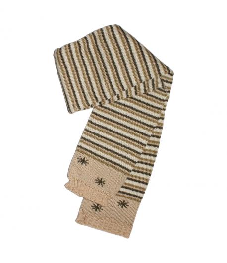 Keki csíkos, alul hópehely mintával díszített vastag kötött nyaksál