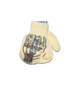 LUX - Egyujjas strechpamut anyagból készült gyermek kesztyű kézfején szarvas filmnyomással