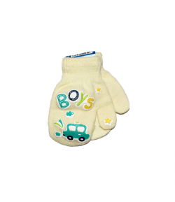 LUX - Egyujjas strechpamut anyagból készült gyermek kesztyű kézfején autós filmnyomással