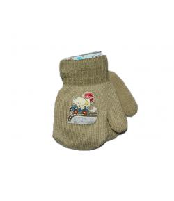 LUX - Egyujjas strechpamut anyagból készült gyermek kesztyű kézfején autós-elefántos filmnyomással