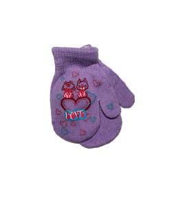 LUX - Egyujjas strechpamut anyagból készült gyermek kesztyű kézfején cicamintás filmnyomással lila színű