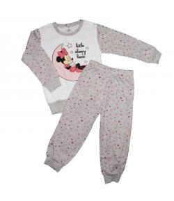 Asti- 2 részes fehér alapon szürke ujjal díszített kislány pizsama 98-as