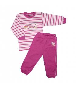 Scamp- 2 részes orgona lila csíkos, muffinos filmnyomással díszített kislány pizsama többféle méretben