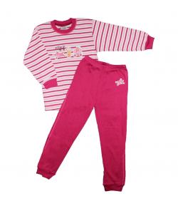 Scamp- 2 részes s. pink csíkos, elején hercegnős kiegészítőket ábrázoló filmnyomással díszített kislány pizsama 110-es