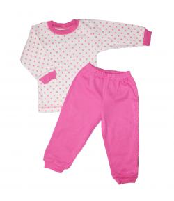 Scamp- 2 részes fehér alapon rózsaszín pöttyös csajos pizsama 80-as