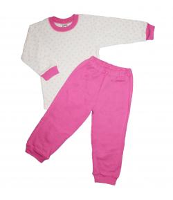 Scamp- 2 részes fehér alapon rózsaszín szivecskés mintával díszített csajos pizsama többféle méretben