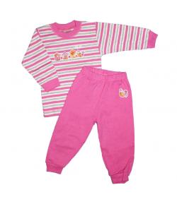 Scamp- 2 részes szürke- pink-fehér csíkos madáretető filmnyomással díszített kislány pizsama többféle méretben