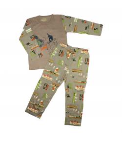 Minimanó - 2 részes sportágat ábrázoló filmnyomással díszített fiú pizsama 122-es