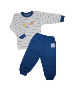 Scamp- 2 részes csíkos, labda filmnyomással díszített fiú pizsama többféle mérteben