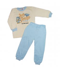 Király G.- 2 részes sárga-kék színű, elől filmnyomással díszített bolyhos pamuttal bélelt pizsama 92-es