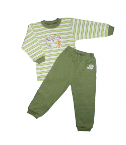 Scamp- 2 részes zöld-fehér csíkos, egérpár filmnyomással díszített fiú pizsama 86-os