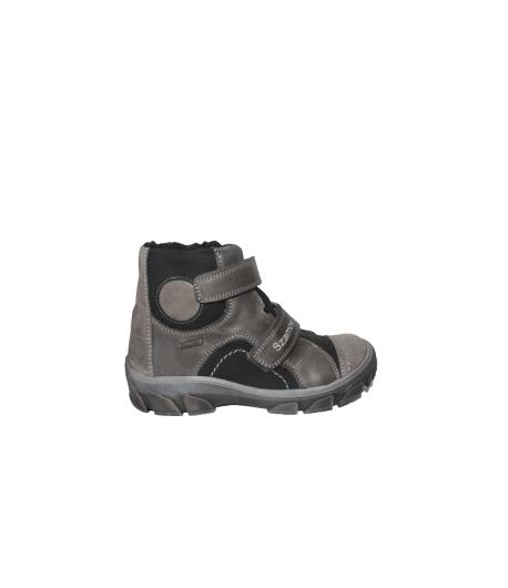 Szamos - Szürke -fekete, két tépőzáras , belül szőrmebéléses bőrcipő többféle méretben