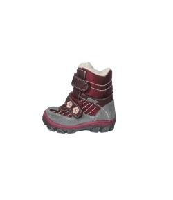 Szamos - Szürke-bordó színű 2 tépős fiú magasszárú bőrcipő többféle méretben