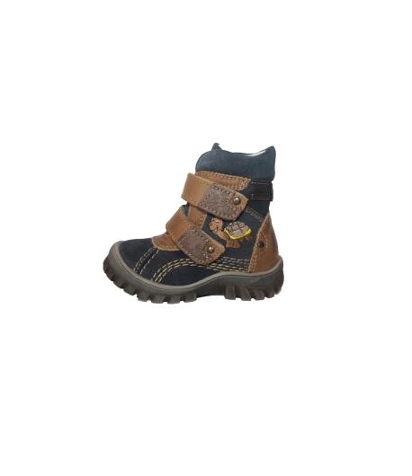 Szamos - Sötétkék-barna színű 2 tépős, hímzett teknősmintás fiú bőrcipő többféle méretben