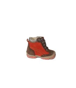 Siesta- barna-narancs, fűzős nubuk/velúr, belül szőrmés fiú cipő 19-es