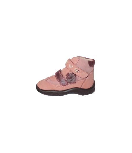 Siesta - Mályva rózsaszín színű, hímzett szívecskékkel díszített, belül szőrmés, 2 tépős kislány bakancs Többféle méretben