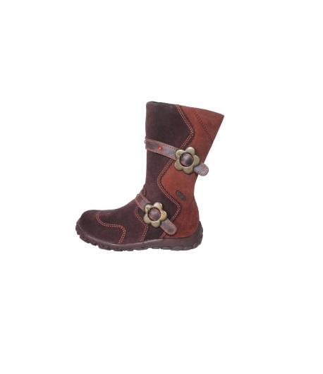 Siesta - Padlizsán /barna színű, virágos csattal díszített hosszított lányka csizma többféle méretben