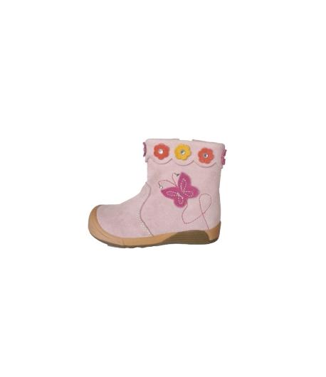 Almarino - Rózsaszín átmeneti cipő hímzett és rátett virággal díszített többféle méretben