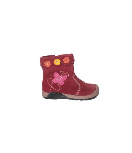 Almarino - Bordó színű átmeneti cipő hímzett és rátett virággal díszített 24-es