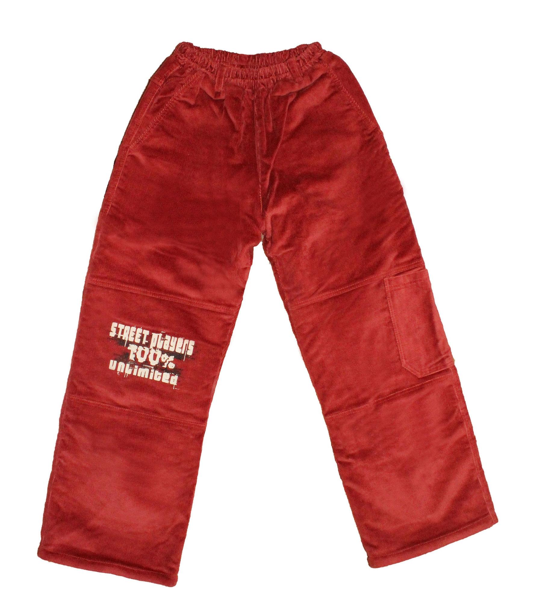 Király G. Tégla piros színű fiús microkord bélelt nadrág 128 as