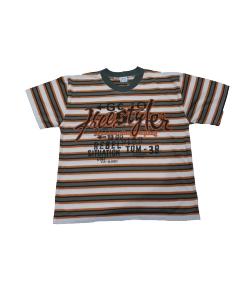 Milán- Narancs-nyers -keki csíkos fiú póló 128-as