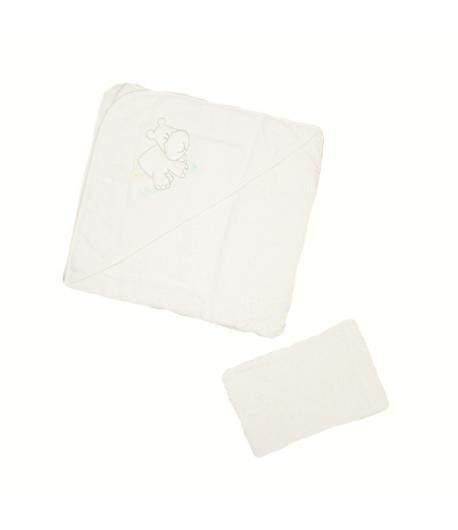 Király G. Frottír fürdőlepedő + mosdókesztyű 100 x 100 - Fehér